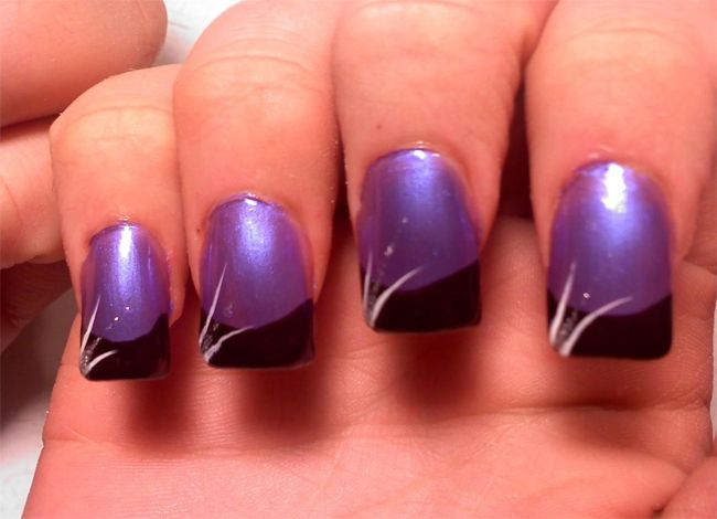 Fresh Purple and Black Nail Design Pictures