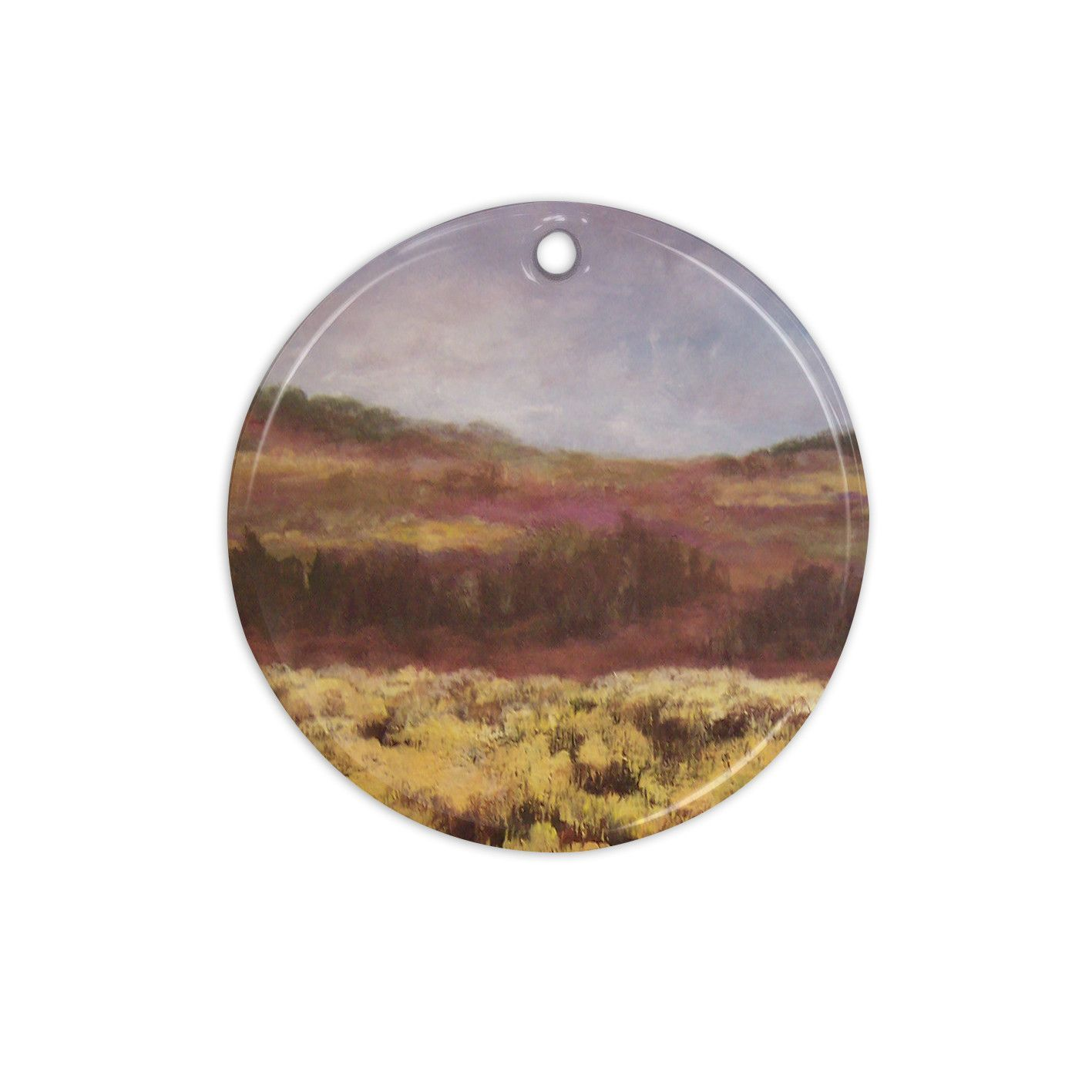 "Cyndi Steen ""Field Of Yellow"" Brown Green Ceramic Circle Ornament"