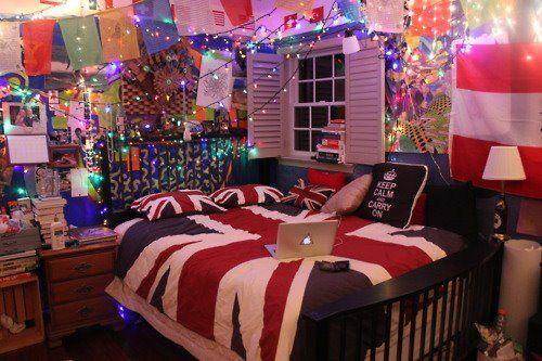 Tumblr Bedrooms Bedroom English Flag England Lights Girl Bedroom - Cool teenage girl bedroom ideas tumblr