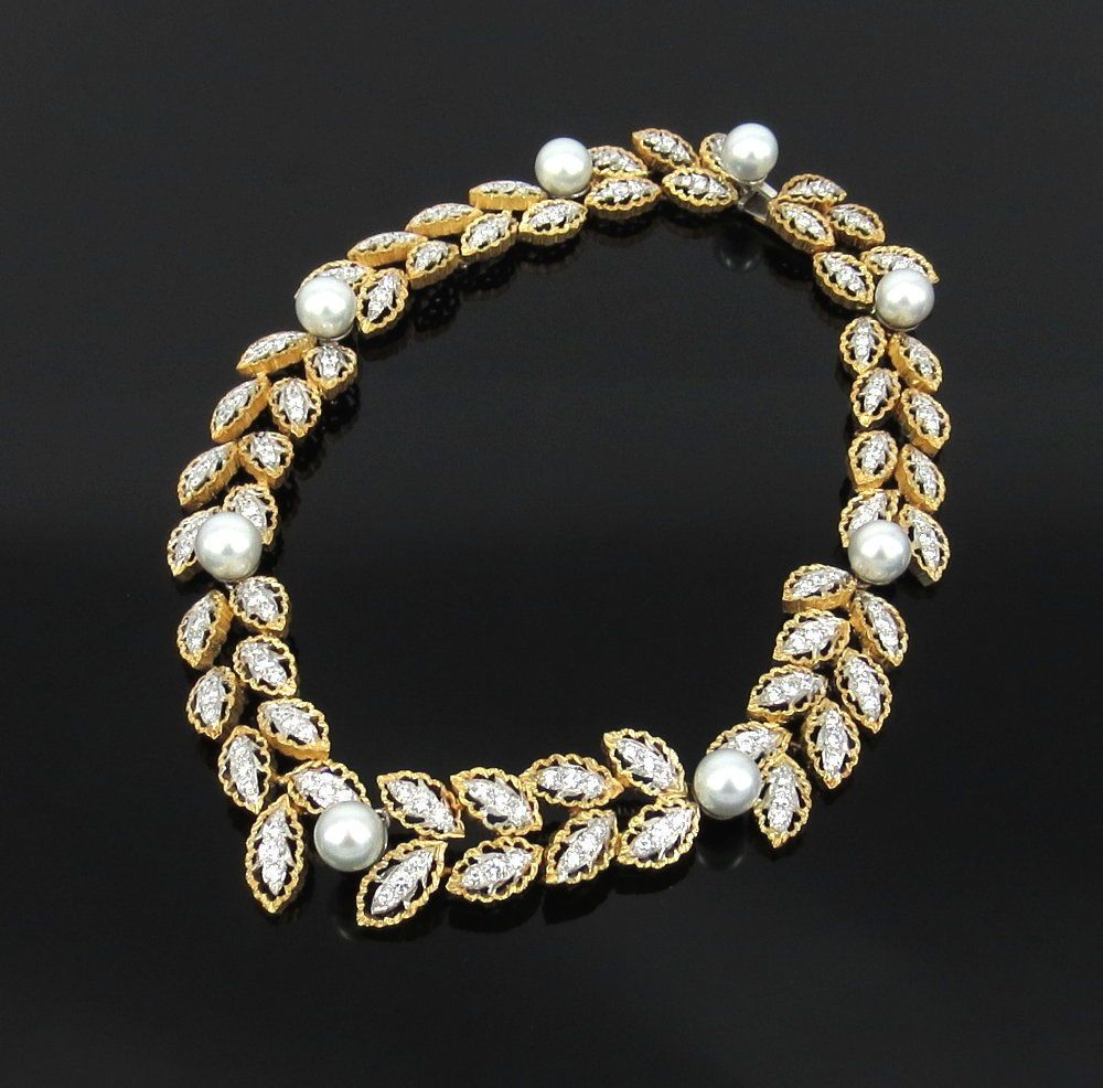 4d9ac212499 Vintage Italian 12.0ct Diamond   10mm Pearl 18K Gold Hand Made Necklace