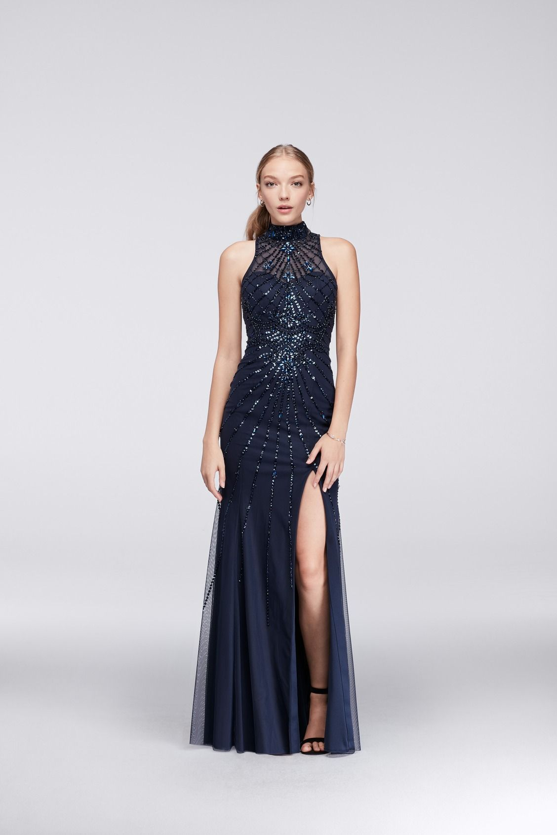 Beaded Mock Neck Open Back Long Prom Dress By Sean Collection