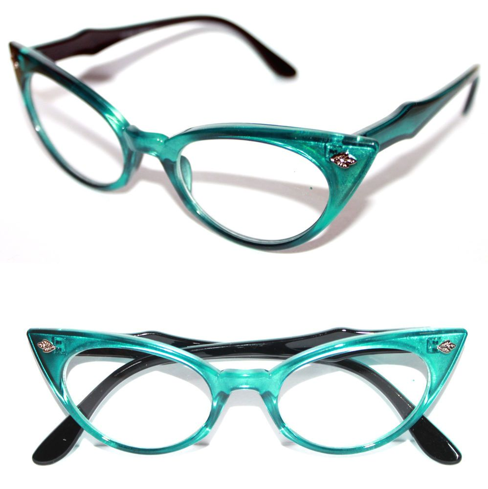 Cat Eye Vintage Glasses Frame 50\'s Cateye small Nerd Turquoise Green ...