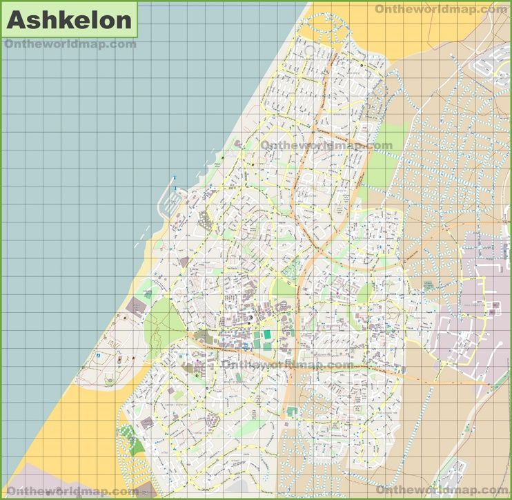 Large detailed map of Ashkelon Maps Pinterest Israel and City