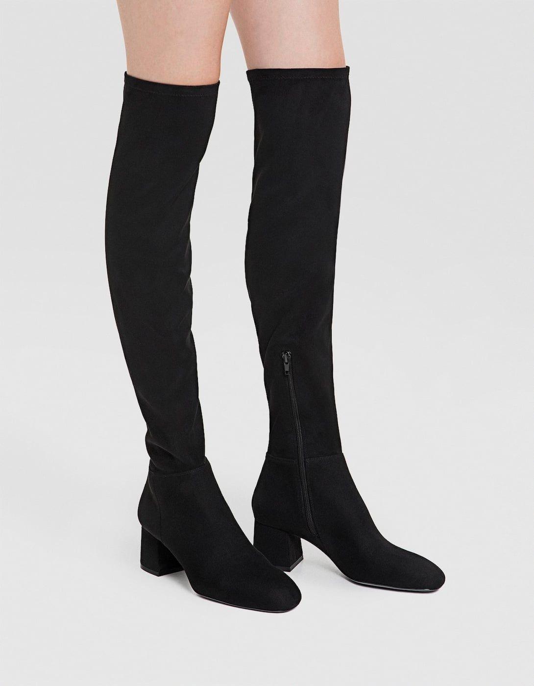 Black mid-heel knee-high boots - All