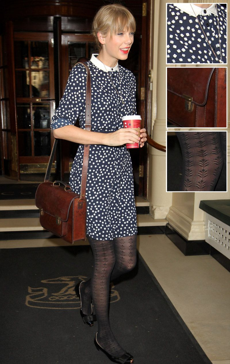 Taylor Swift & O Jour  Navy blue dice print dress with white collar and brown satchel and patterned tights in London