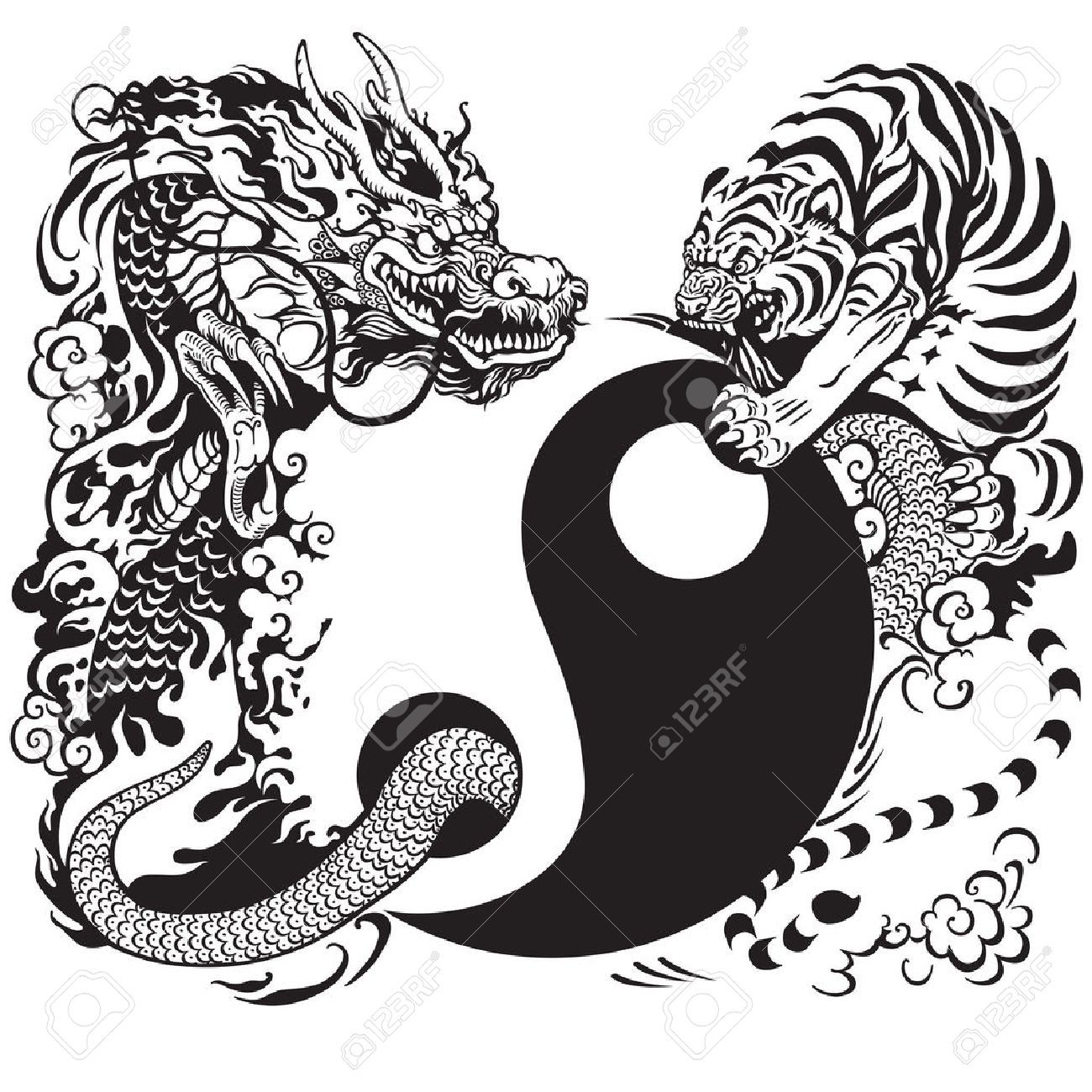 Afbeeldingsresultaat voor yin yang tattoo patronen patronen tattoo ying yang pinterest yin - Dessin dragon japonais ...