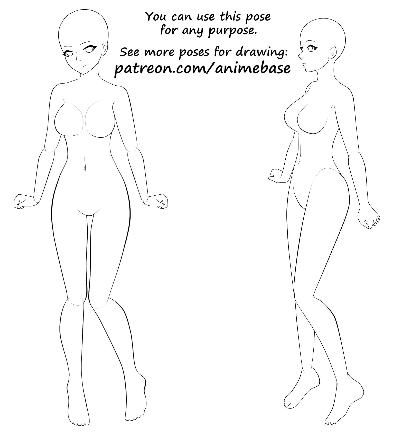 Big Girl Reference Anime Base Poses For Drawing Manga On Patreon Anime Poses Female Anime Poses Reference Anime Base