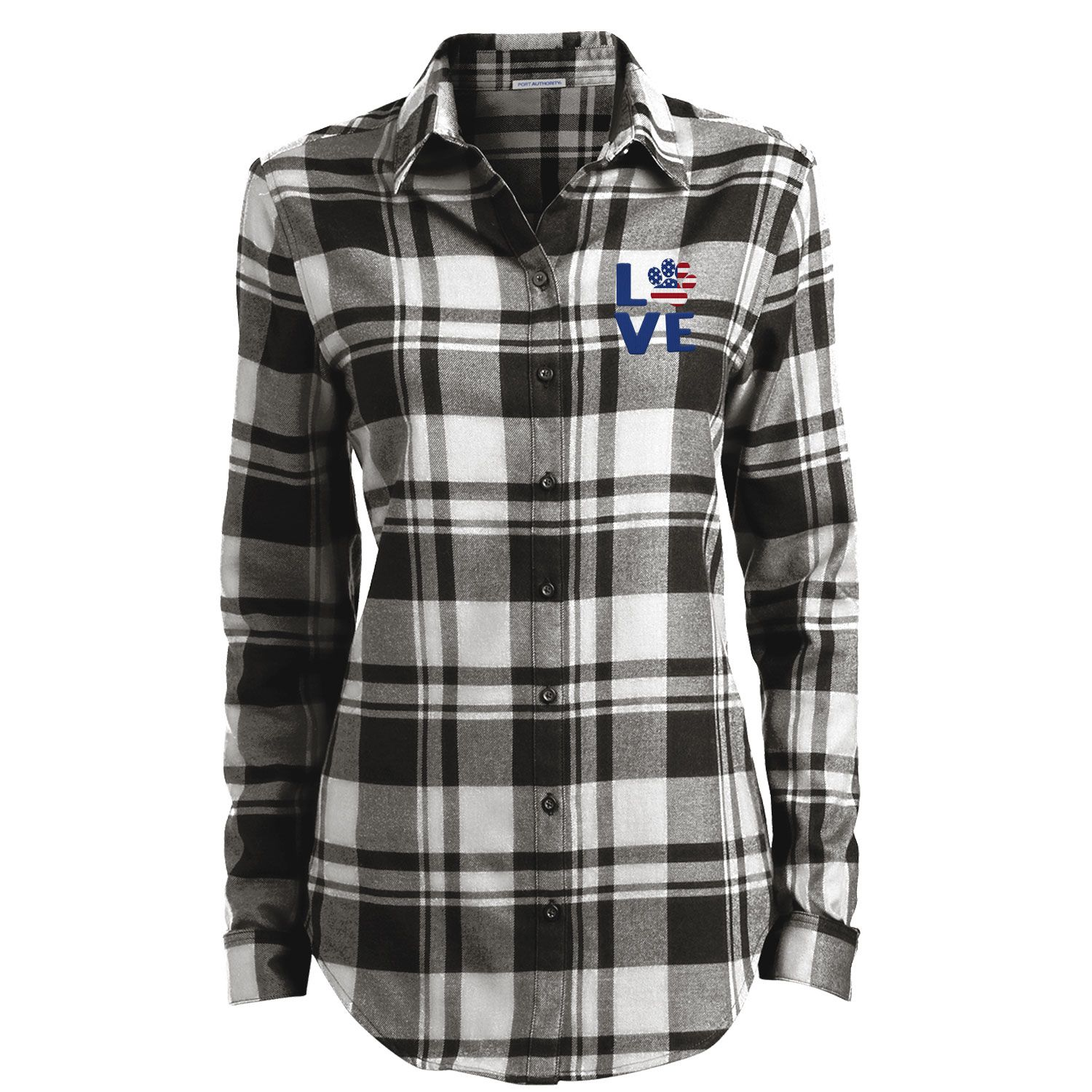 Love Paw Usa Embroidered Ladies Flannel Shirt Flannel Tunic Plaid Flannel Plaid