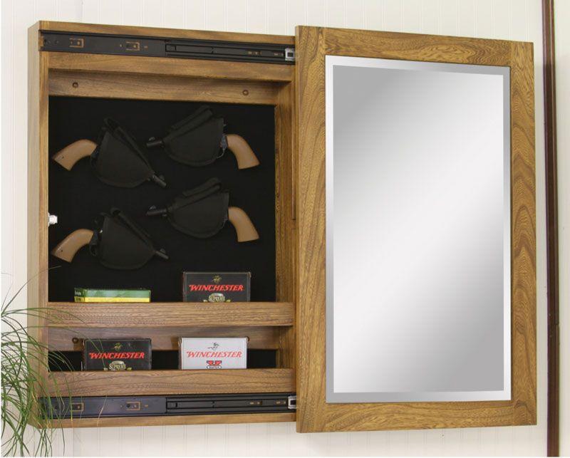 Wall Mount Sliding Mirror Gun Cabinets - Ohio Hardwood Furniture