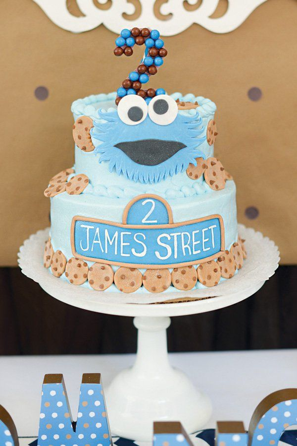 Sweet Chocolate Chip Cookie Monster Birthday Party Monster
