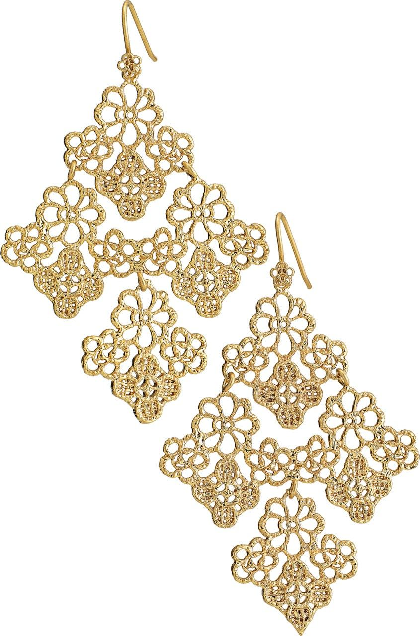 Stella Dot Chantilly Lace Chandelier Earrings 49 Gold Plated Filagree Were Inspired By A Piece Of Vintage 2 1 Length