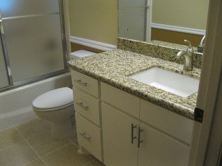 Custom Cabinets Granite Countertops A Twotone Paint Scheme And Mesmerizing Brushed Nickel Bathroom Accessories Design Ideas