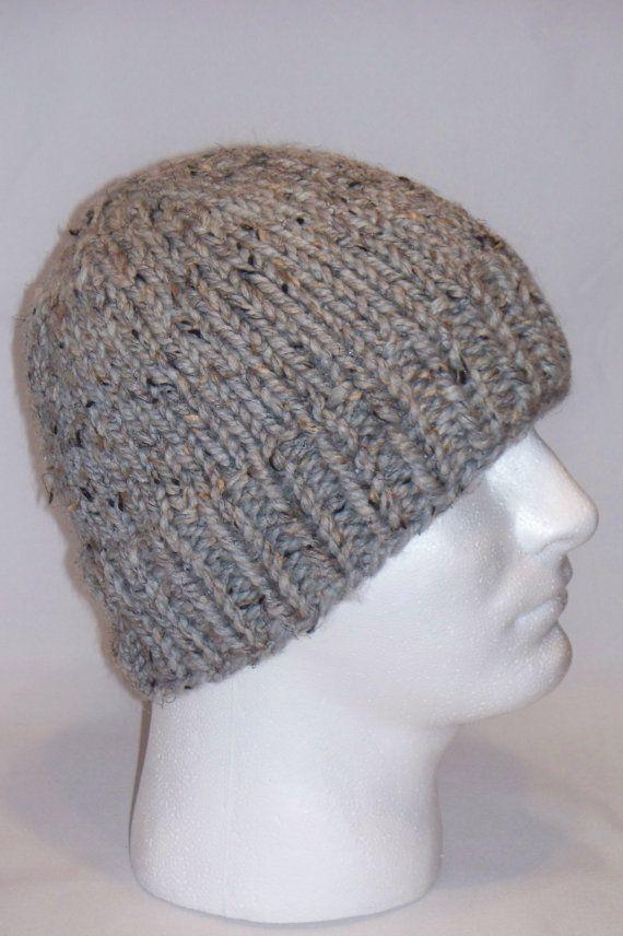 Warm Winter Beanie Hat Grey Marble Mens Hat by lousknittingroom, $30.00