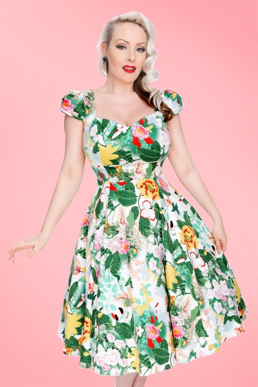50s Joanne Floral Swing Dress in Ivory