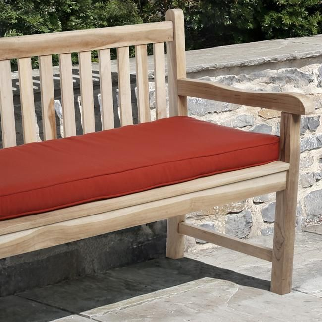 Sunbrella Red Outdoor 48 X 19 Inch Bench Cushion Canvas Jockey Red