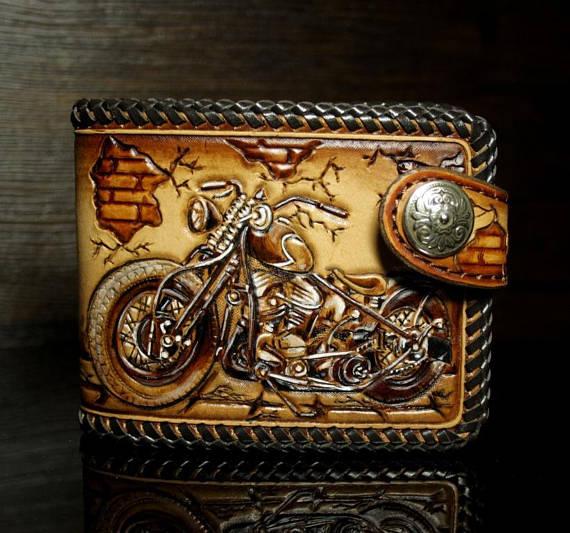 Hand nachgerüstet Ledergeldbörse, Leder Herren Geldbörse, Motorrad Brieftasche, Biker Portemonnaie, nachgerüstet Brieftasche, geschnitzten Brieftasche, Harley Geldbörse, Herren Geschenk #leatherwallets
