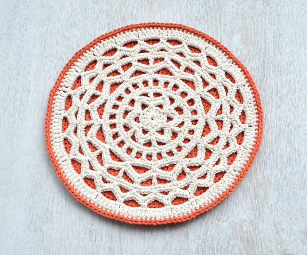 Geometric Mandala Hot Pad Crochet pattern by LillaBjörnCrochet #crochetmandalapattern