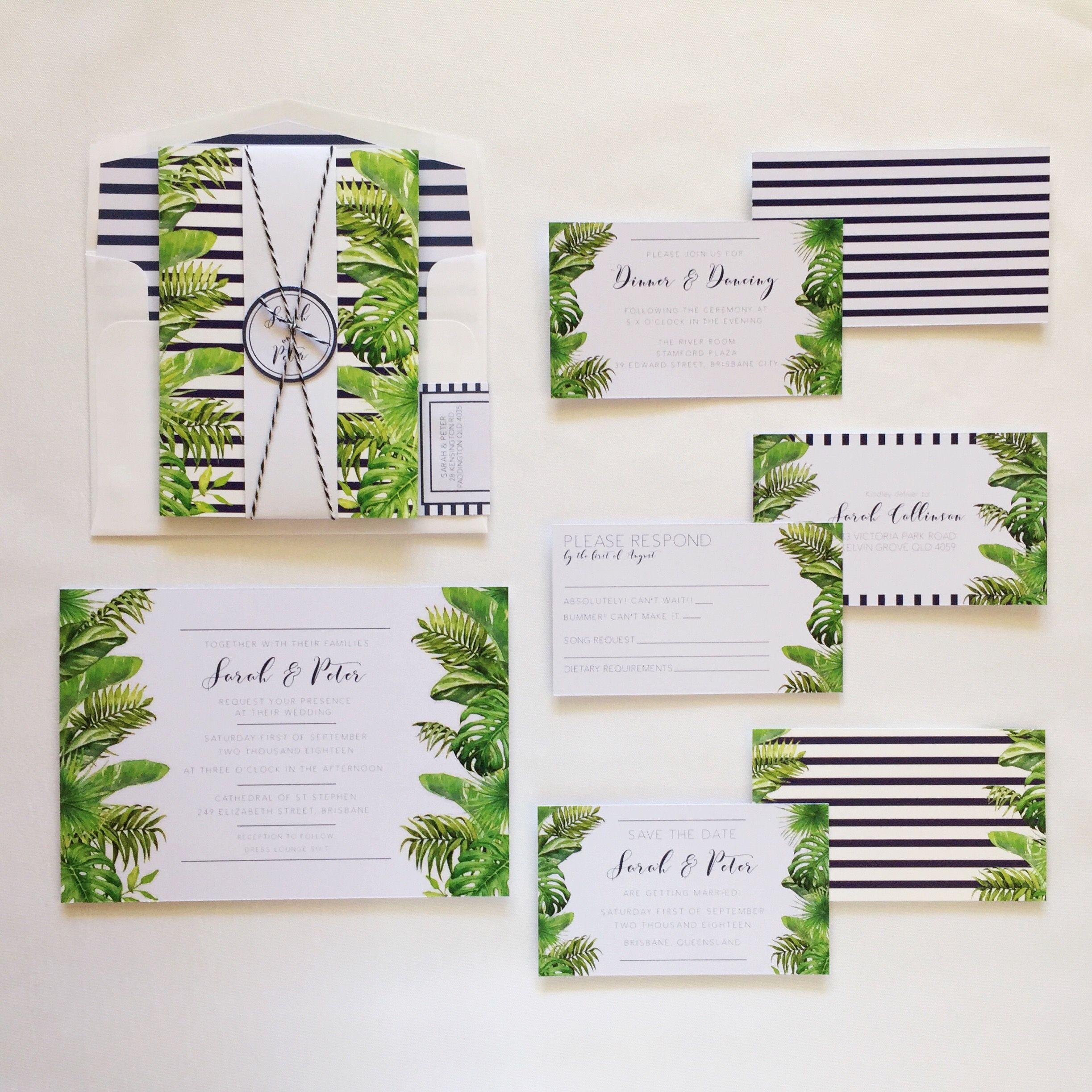 Custom Nantucket Stripe Tropical Wedding invitations - Destination ...