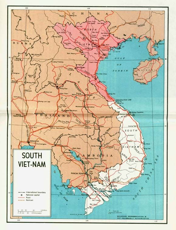 Map Of A Partitioned Vietnam From A US Government Pamphlet - Us government maps