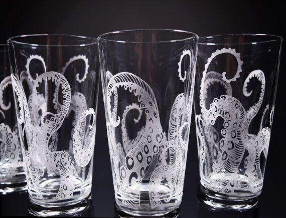 Octopus Tentacles Drinking Glass Glassware Set Kraken Etched Engraved Glass Set Of 2 Or 4 Octopus Decor Kraken Drinking Glass