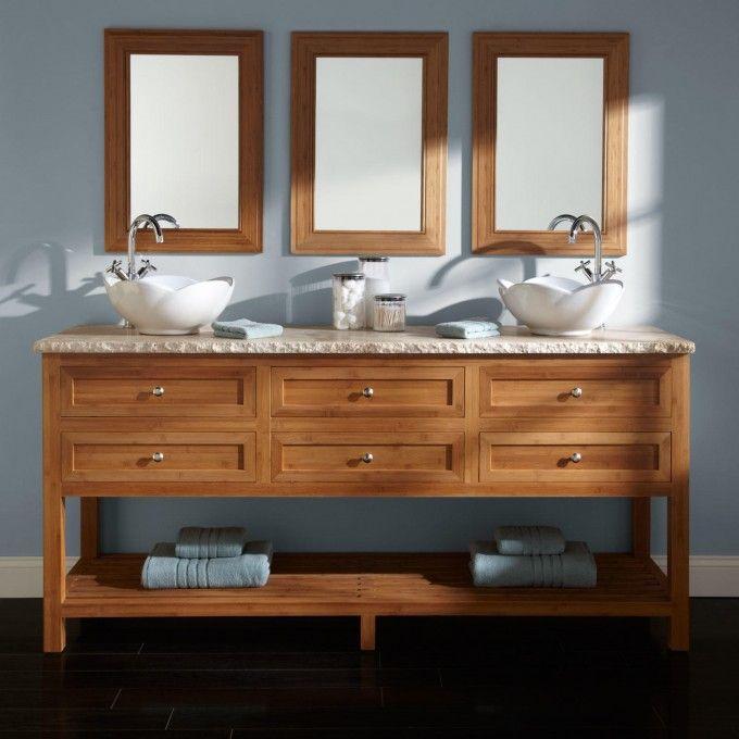"72"" Thayer Bamboo Double Vessel Sink Vanity  Vessel Sink Vanity Fascinating 72 Inch Bathroom Vanity Double Sink Design Decoration"