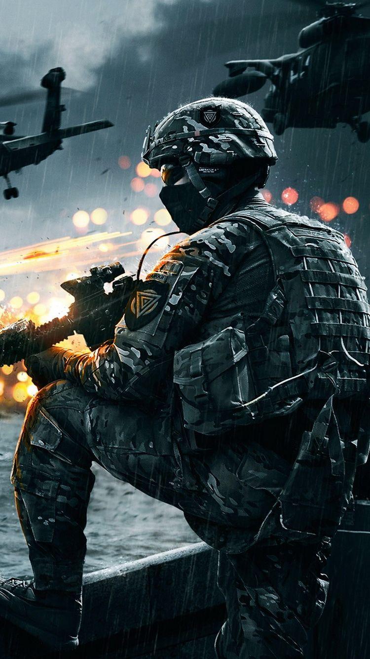 Battlefield 4 Soldier Rain iPhone 6 Wallpaper