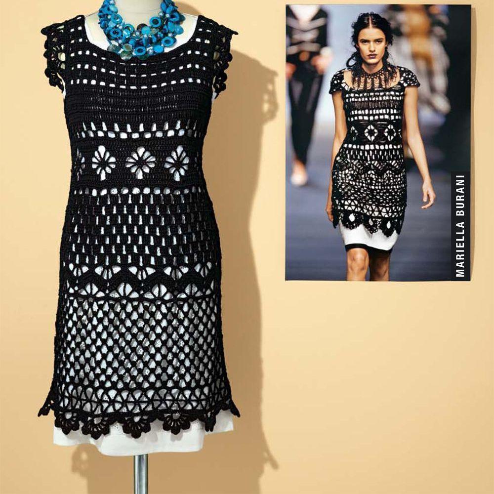 Kleid im Stil von Mariella Burani häkeln | Häkeln, Handarbeiten und ...