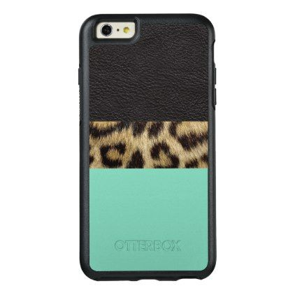 Leopard Leather Stripe Choose Accent Color OtterBox iPhone 6/6s Plus Case - stripes gifts cyo unique style