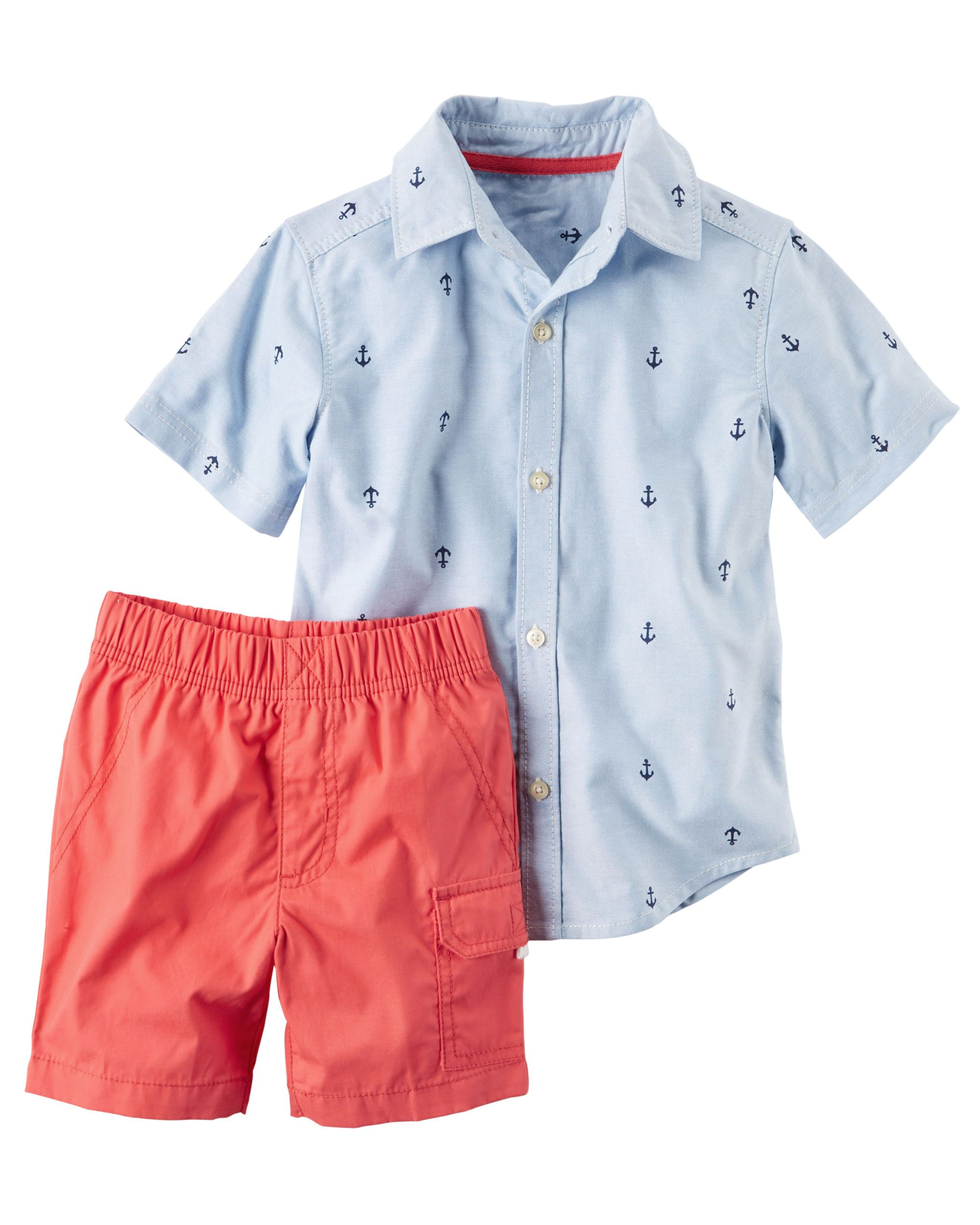 4983fe35c Baby Boy 2-Piece Button-Front Shirt & Poplin Short Set Featuring a printed  button-front and pull-on poplins, this warm weather combo gets him dressed  in a ...