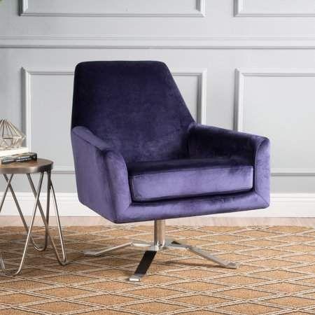 Remarkable Noble House Alvin Velvet Modern Swivel Club Chair Plum In Ncnpc Chair Design For Home Ncnpcorg