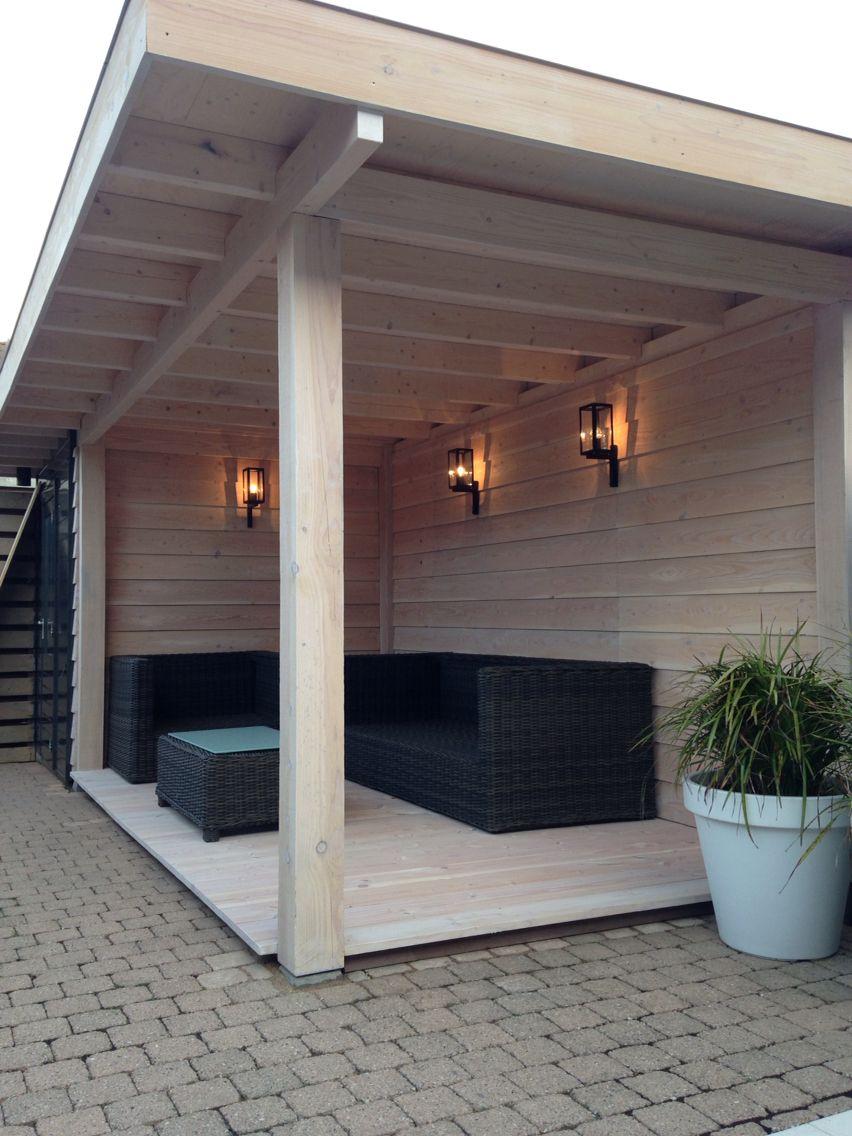 Overkapping van douglas en vuren hout dak edekking van epdm vlonder planken glad ook van - Dak van pergola ...