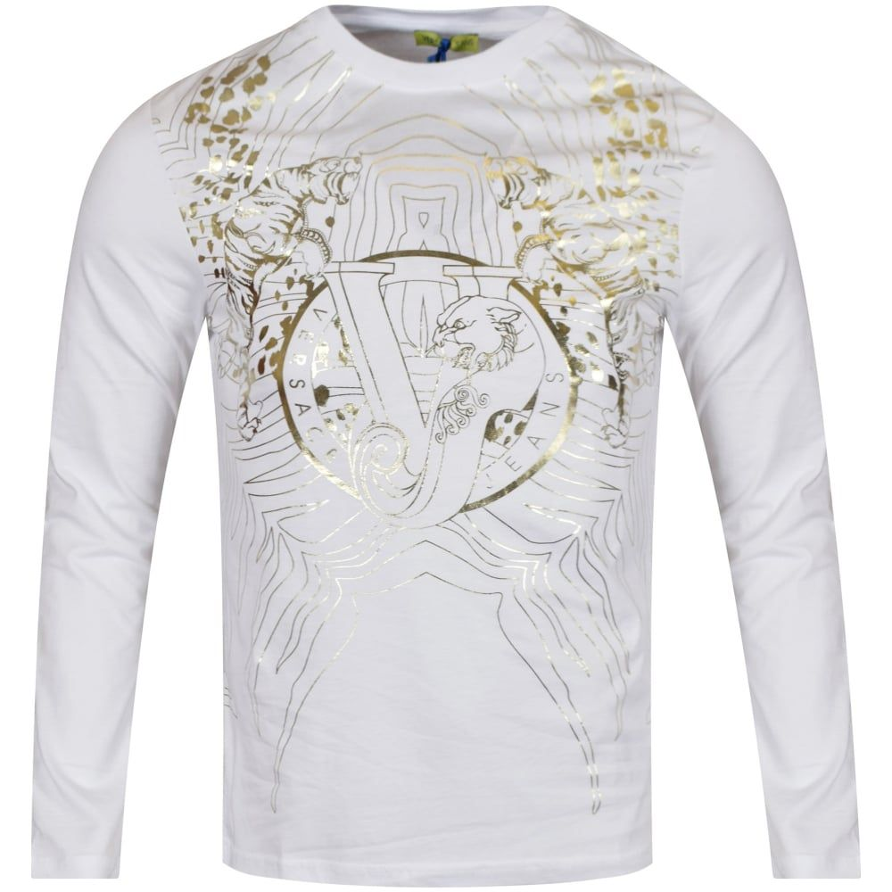 VERSACE JEANS Versace Jeans White Gold Pattern LS T-Shirt - T-Shirts from Brother2Brother  UK 415d76ab500