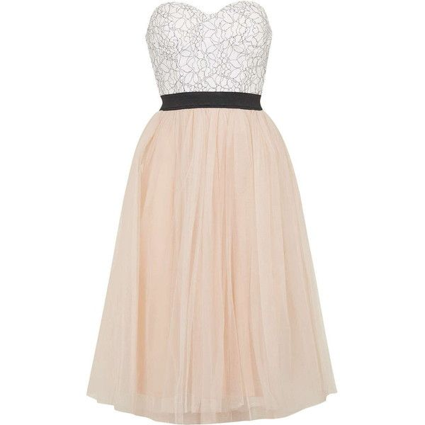 Sweetheart Bustier Tutu Midi Dress by Rare (€84) ❤ liked on Polyvore featuring dresses, cream, pink embroidered dress, topshop, sweetheart dress, midi dress and cream midi dress