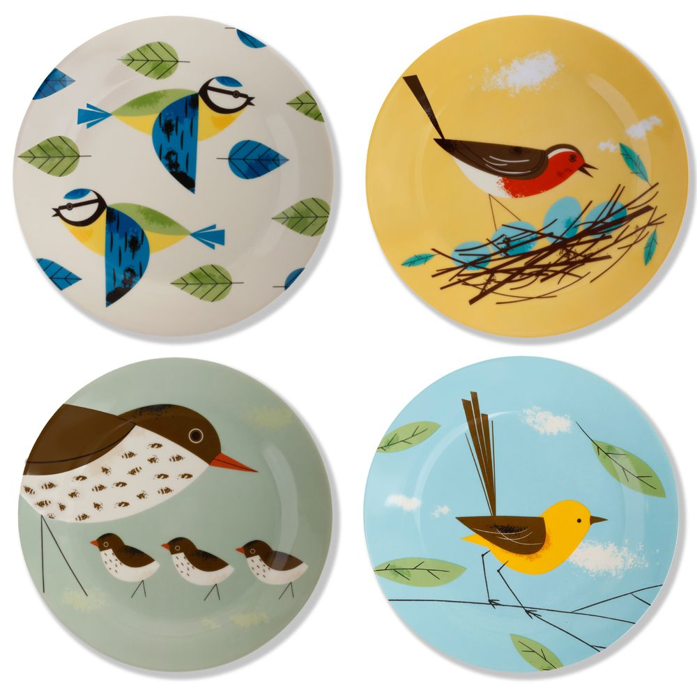 Set Of 4 Birdy Plates By Magpie 163 20 00 Gorgeous Fun And