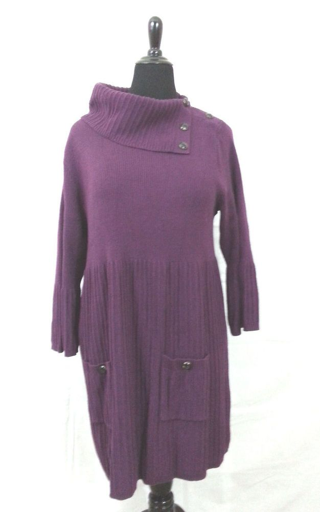 Women Style&Co Sweater Dress Purple 2X  Casual Long Sleeve Pockets Professional #Styleco #SweaterDress #Casual