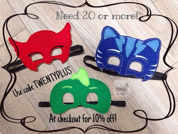 PJ Masks Inspired Masks Gecko Mask Catboy Mask Owl By 805Masks