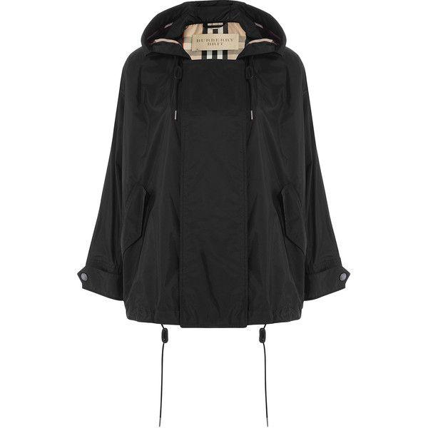 Burberry Brit Hooded Rain Jacket ($570) ❤ liked on Polyvore featuring outerwear, jackets, black, black cropped jacket, button jacket, burberry jacket, drawstring jacket et black jacket