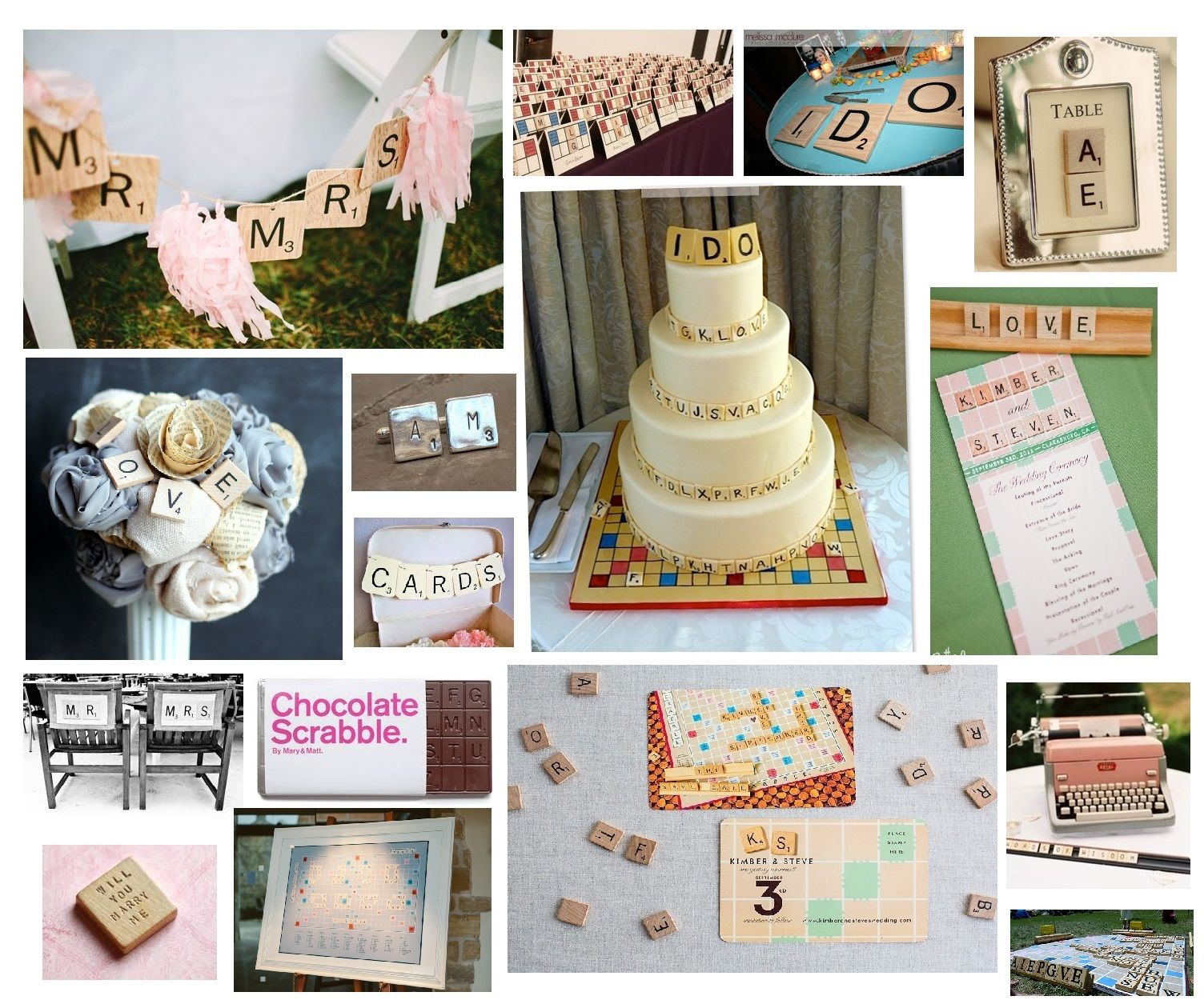 Video Game Wedding Ideas: Scrabble Wedding Theme Inspiration Board