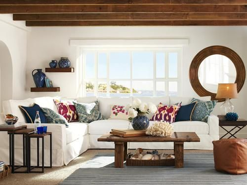 want to decorate my living room coastal light blue walls this is how i white couch and chair dark brown coffee table end tables with colored
