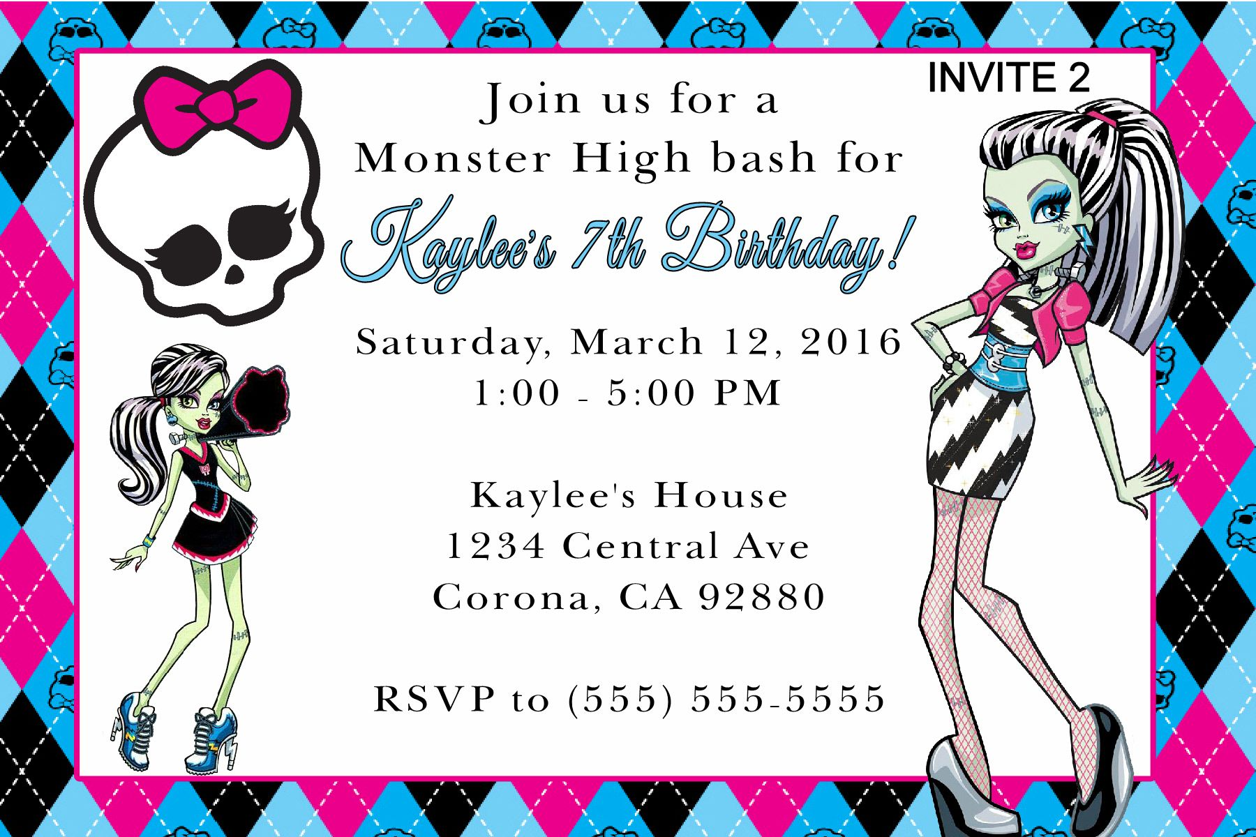 Monster High Birthday Invitation. Click on the image twice to place ...