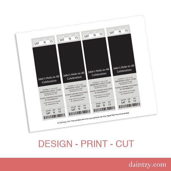 Perfect Event Ticket Photo Invitation Template Printable   DIY Make Your Own Party  Invite Design Template For And Free Printable Ticket Style Invitations