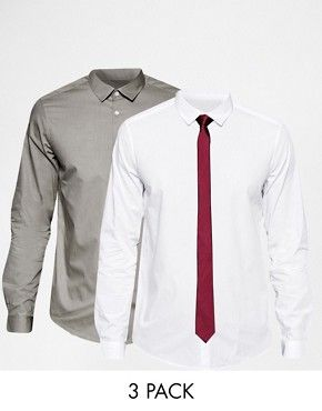 ASOS White And Grey Marl Shirt 2 Pack With Burgundy Tie Set In Regular Fit SAVE 25%