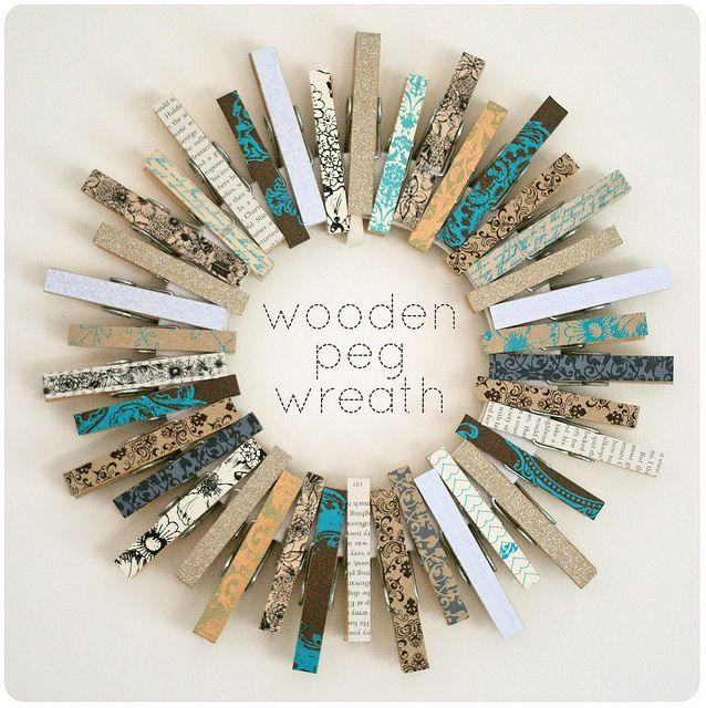 Espejo creado con pinzas de la ropa y Washi tapes
