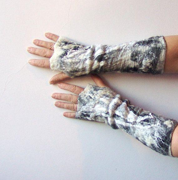 Felted fingerless gloves Mittens   White Black by galafilc on Etsy, $37.00