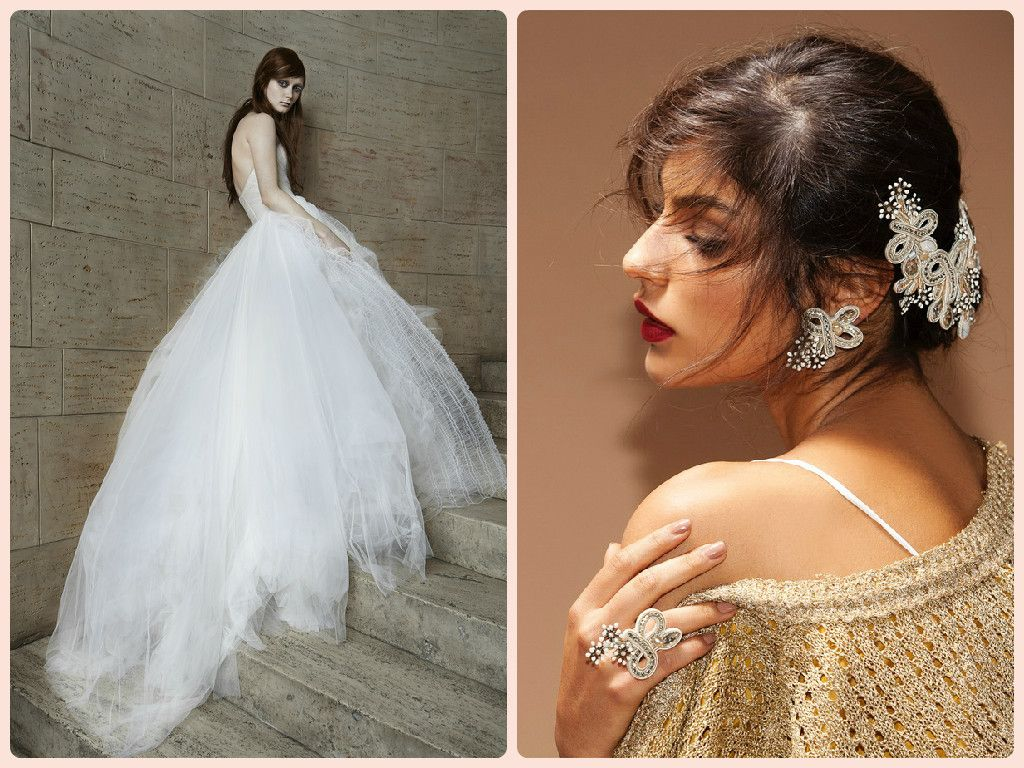 We matched Vera Wang tulle wedding dress with our Stardust bridal