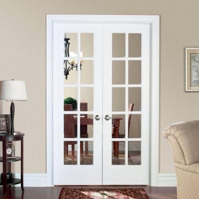 Masonite smooth 10 lite solid core primed pine double for Prehung interior french doors
