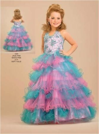 Pageant dresses for little girls with multi colored layered skirt ...