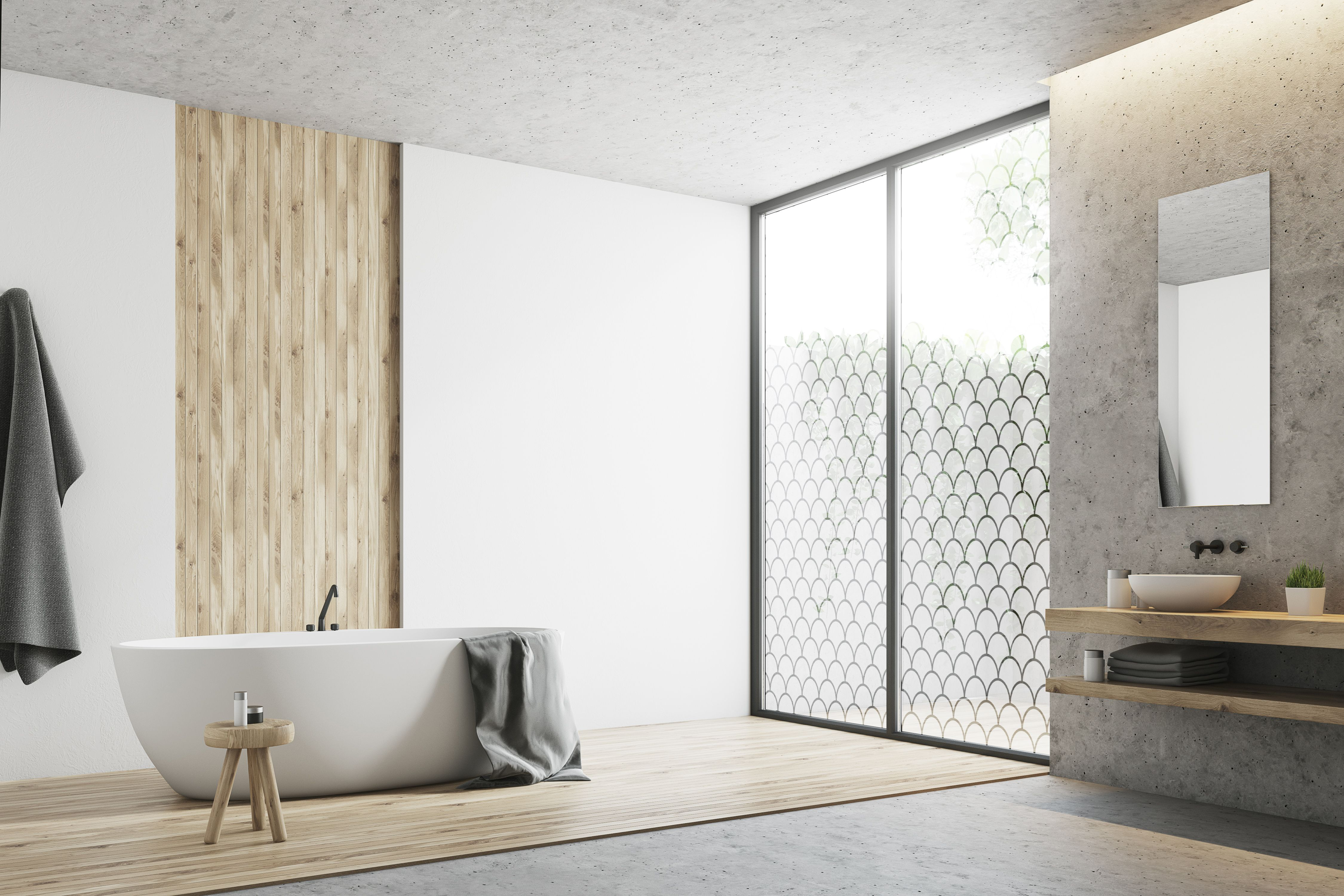 . Modern bathroom with custom design frosted window for decoration and