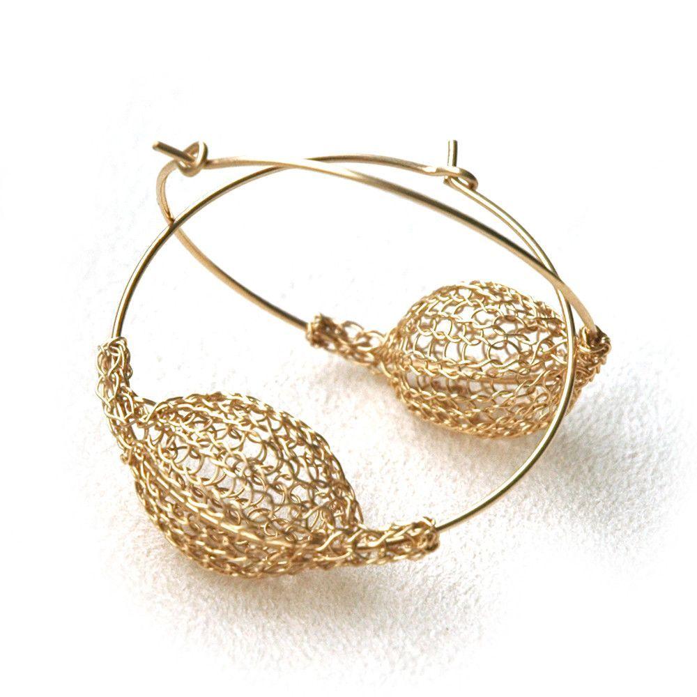 Gold Hoop Earrings #crochetelements