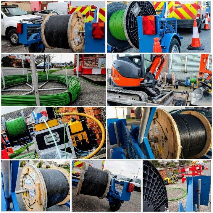 Underground telecom fiber conduit trenching/placing